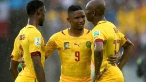 Samuel Eto'o, Nicolas N'koulou e Stephane Mbia. Foto: Getty Images