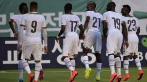 Seleção de Gana em jogo contra a Coreia do Sul. Foto: AFP